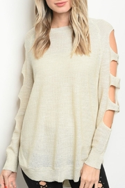 Very J Oatmeal Cut-Out Sweater - Front cropped