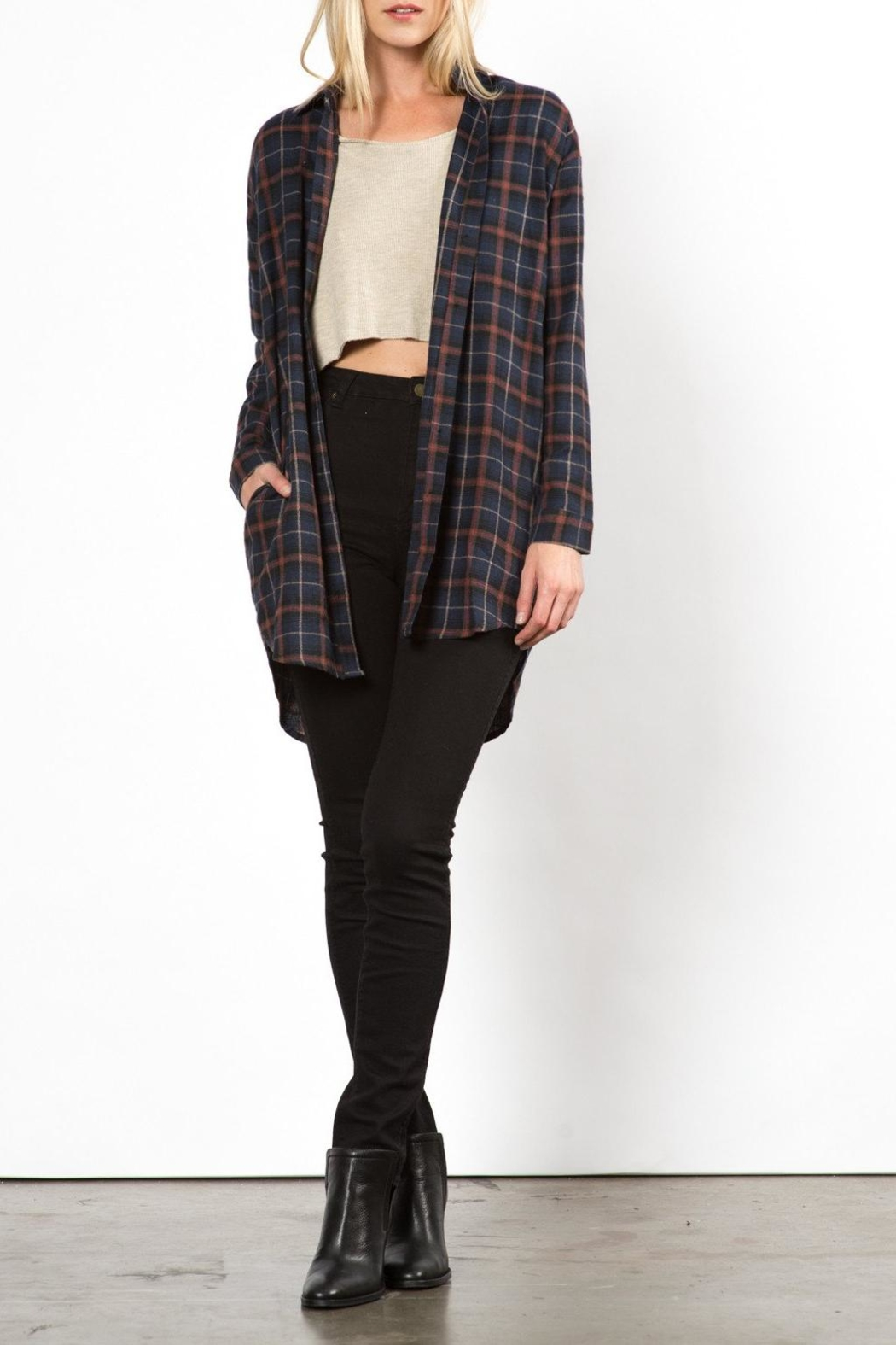 Very J Phoenix Plaid Top - Front Full Image
