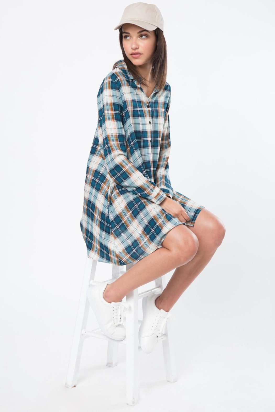Very J Plaid Button Up Dress - Front Cropped Image