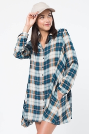 Very J Plaid Button Up Dress - Product Mini Image