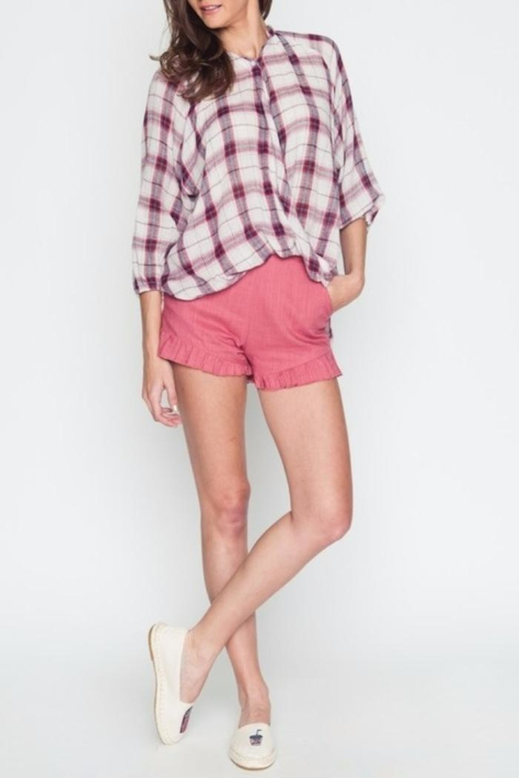 Very J Plaid Crossover Top - Front Cropped Image