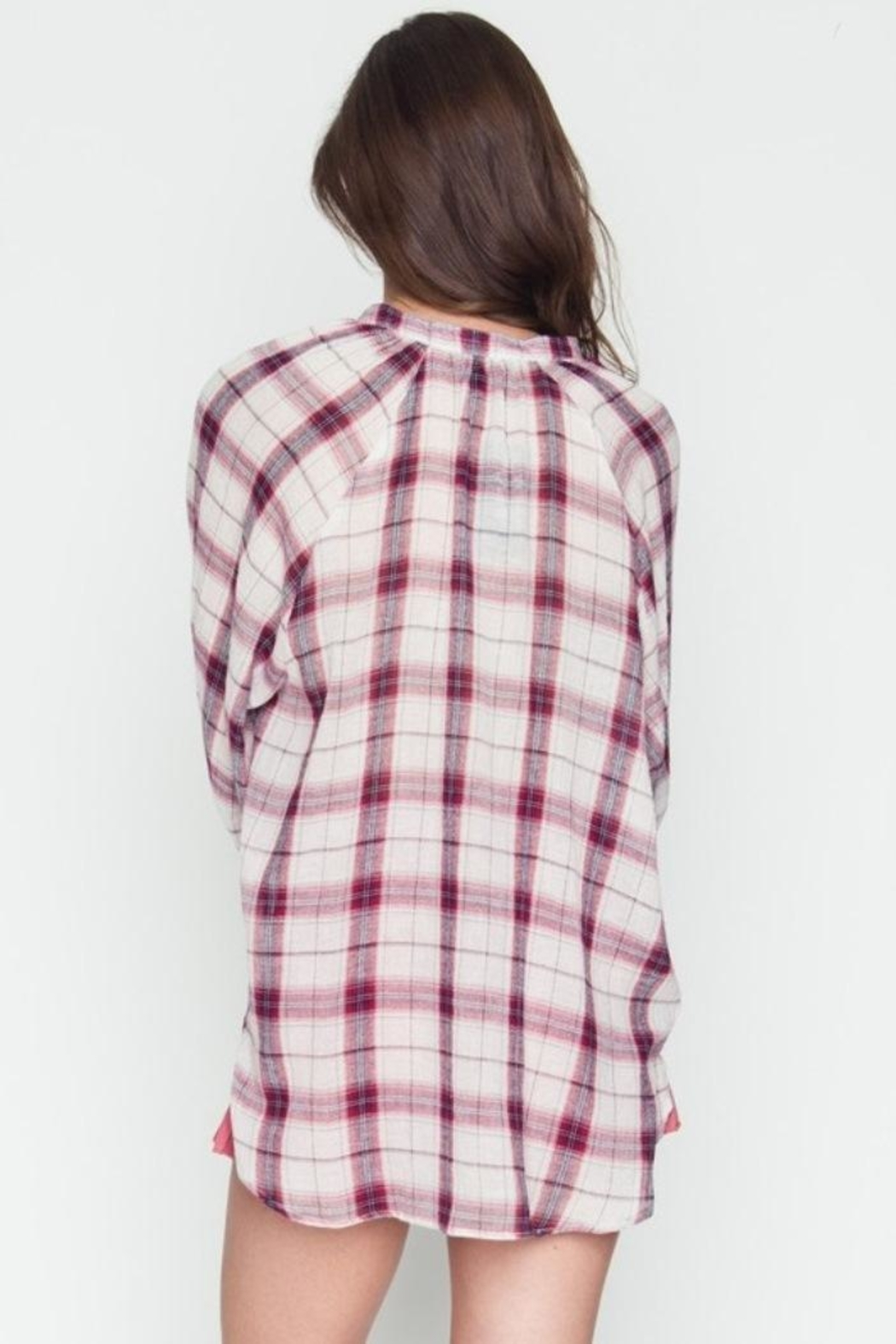 Very J Plaid Crossover Top - Side Cropped Image