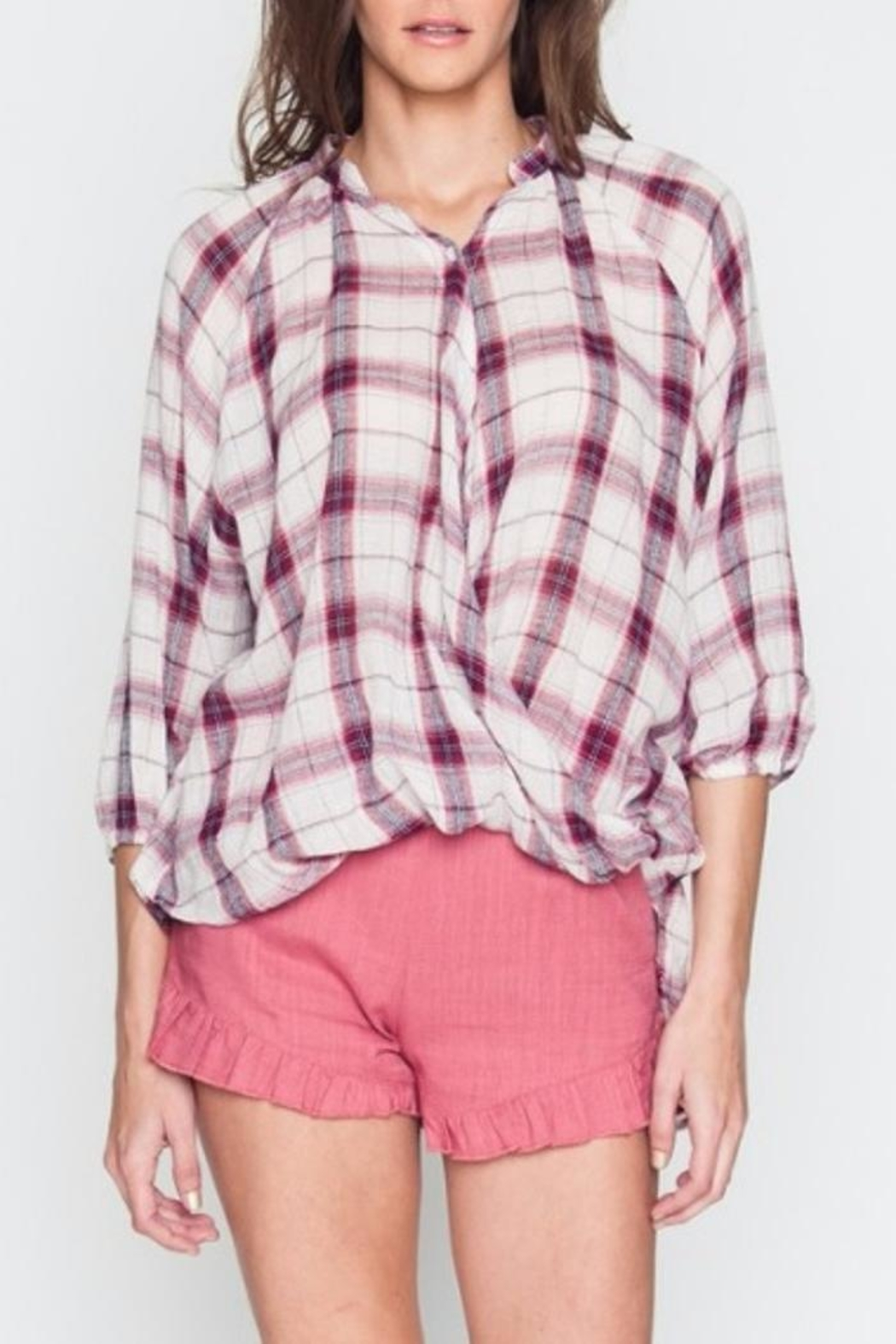 Very J Plaid Crossover Top - Front Full Image