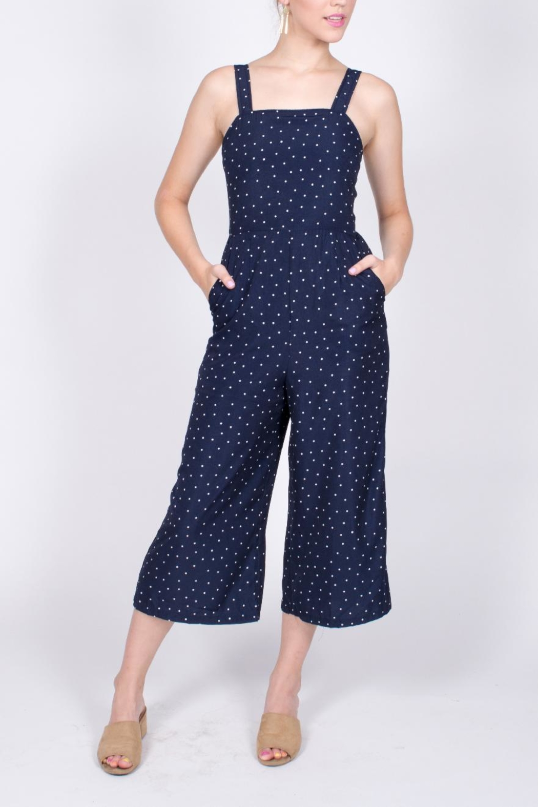 Very J Polka Dot Jumpsuit - Front Cropped Image