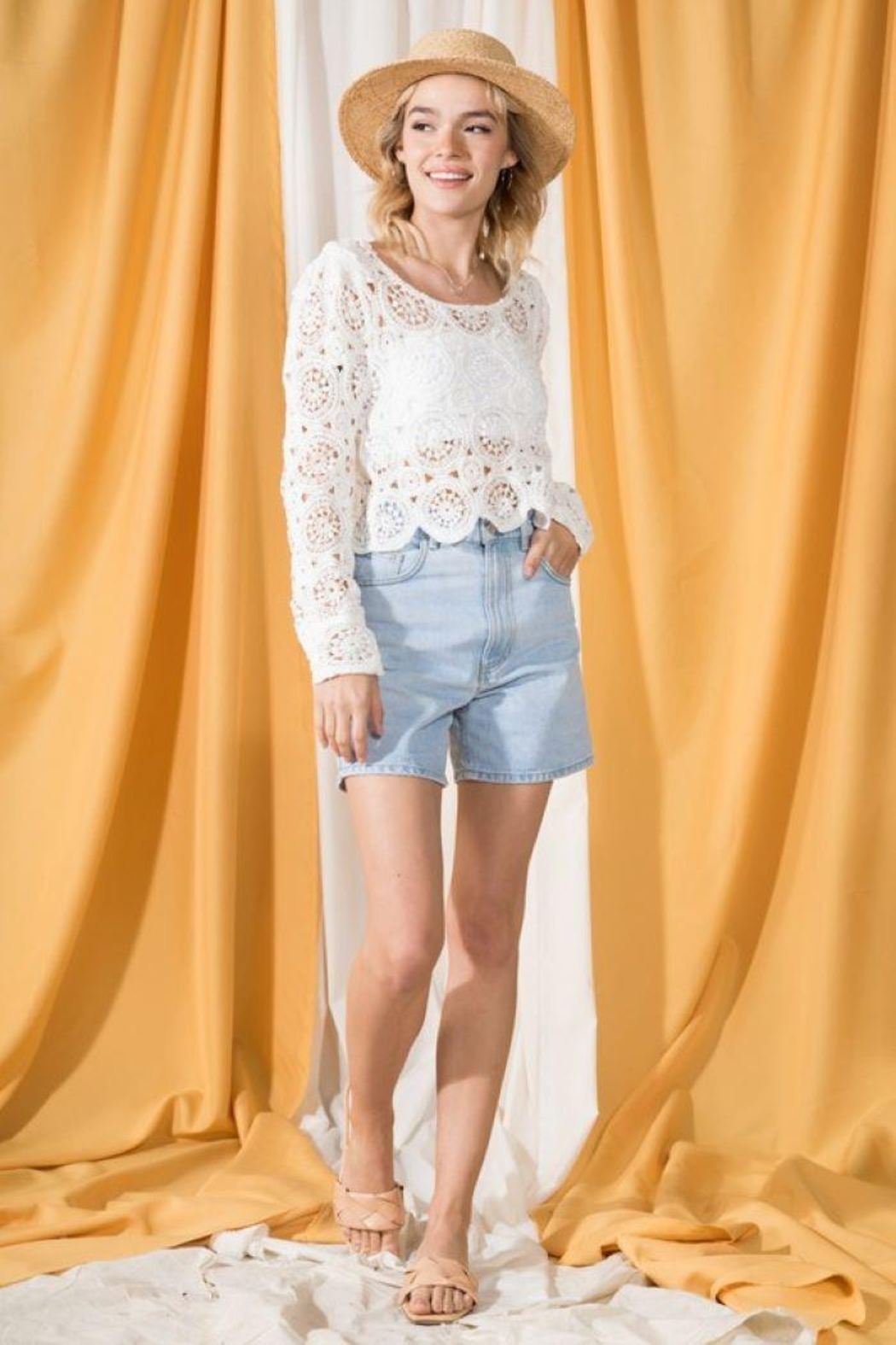 Very J Round Neck Crochet Top - Front Full Image