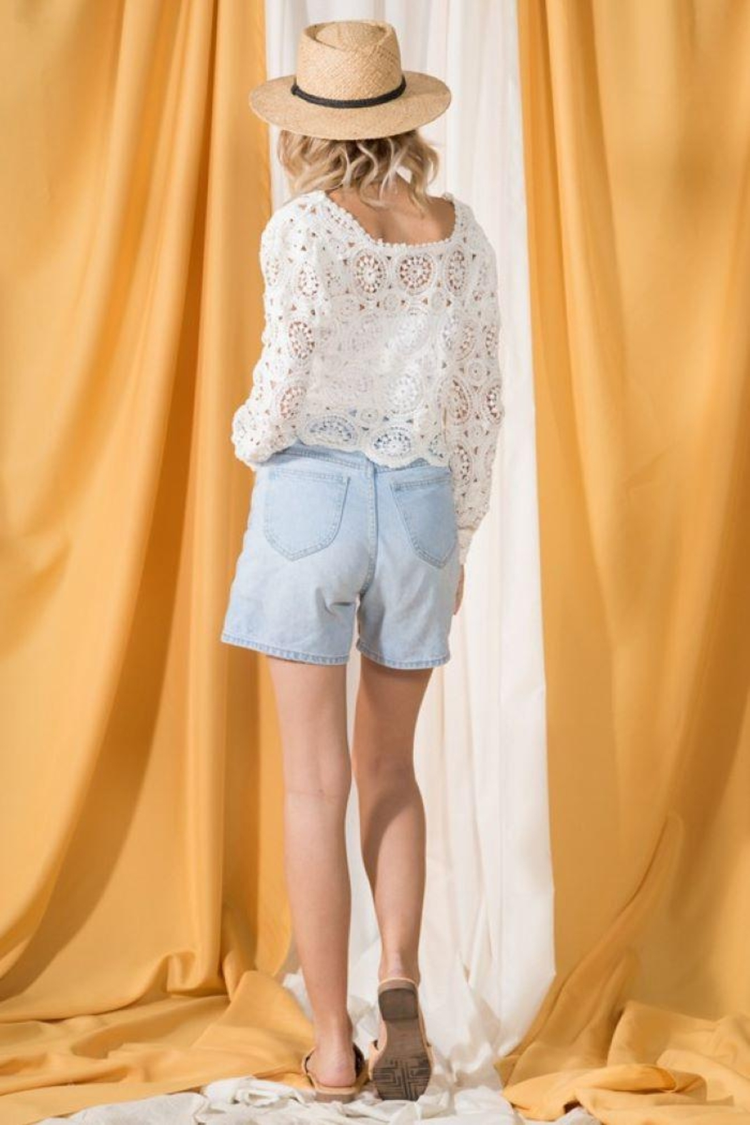 Very J Round Neck Crochet Top - Side Cropped Image