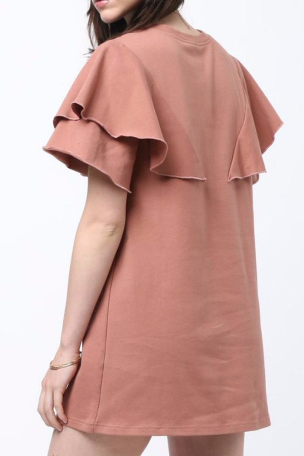 Very J Ruffled Shoulder Dress - Front Full Image