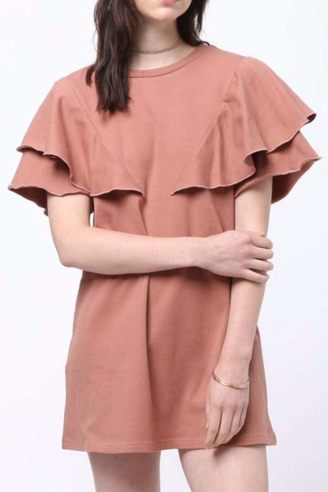 Very J Ruffled Shoulder Dress - Main Image