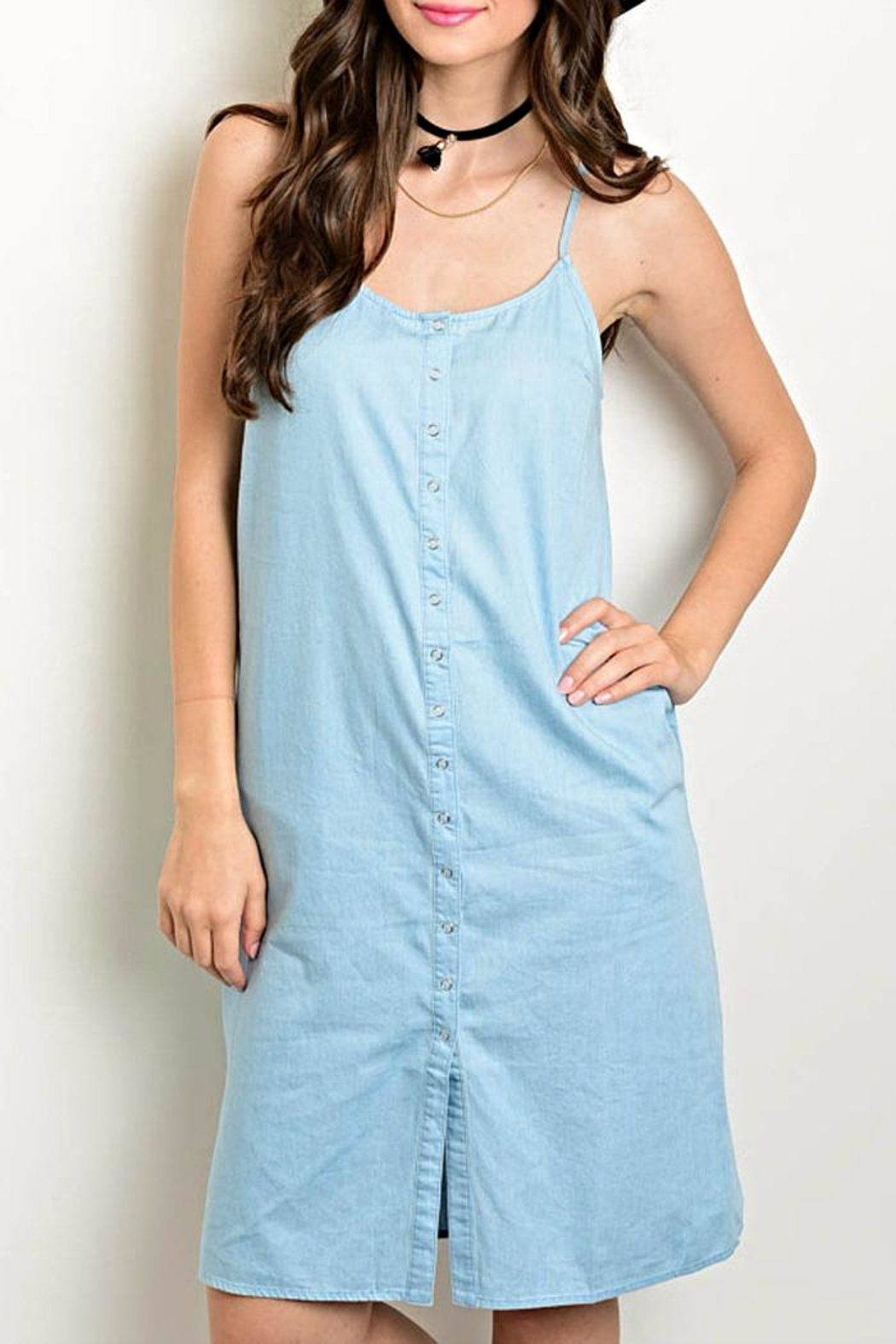 Very J Button Front Denim Dress - Main Image