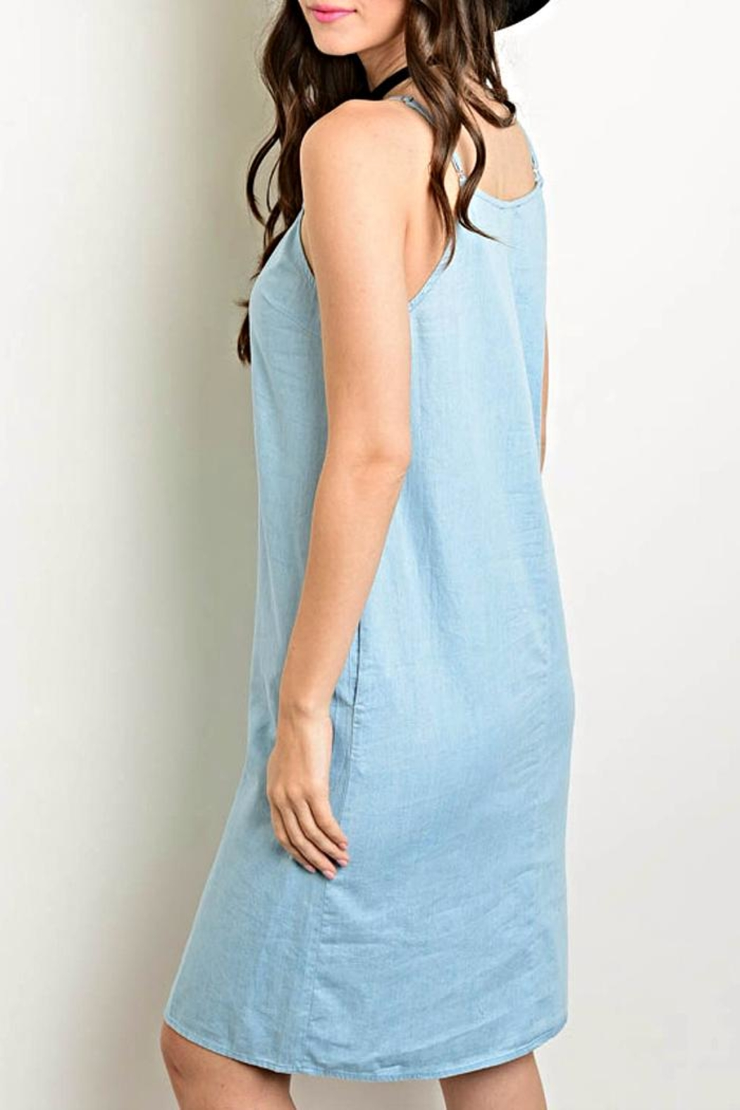 Very J Button Front Denim Dress - Front Full Image