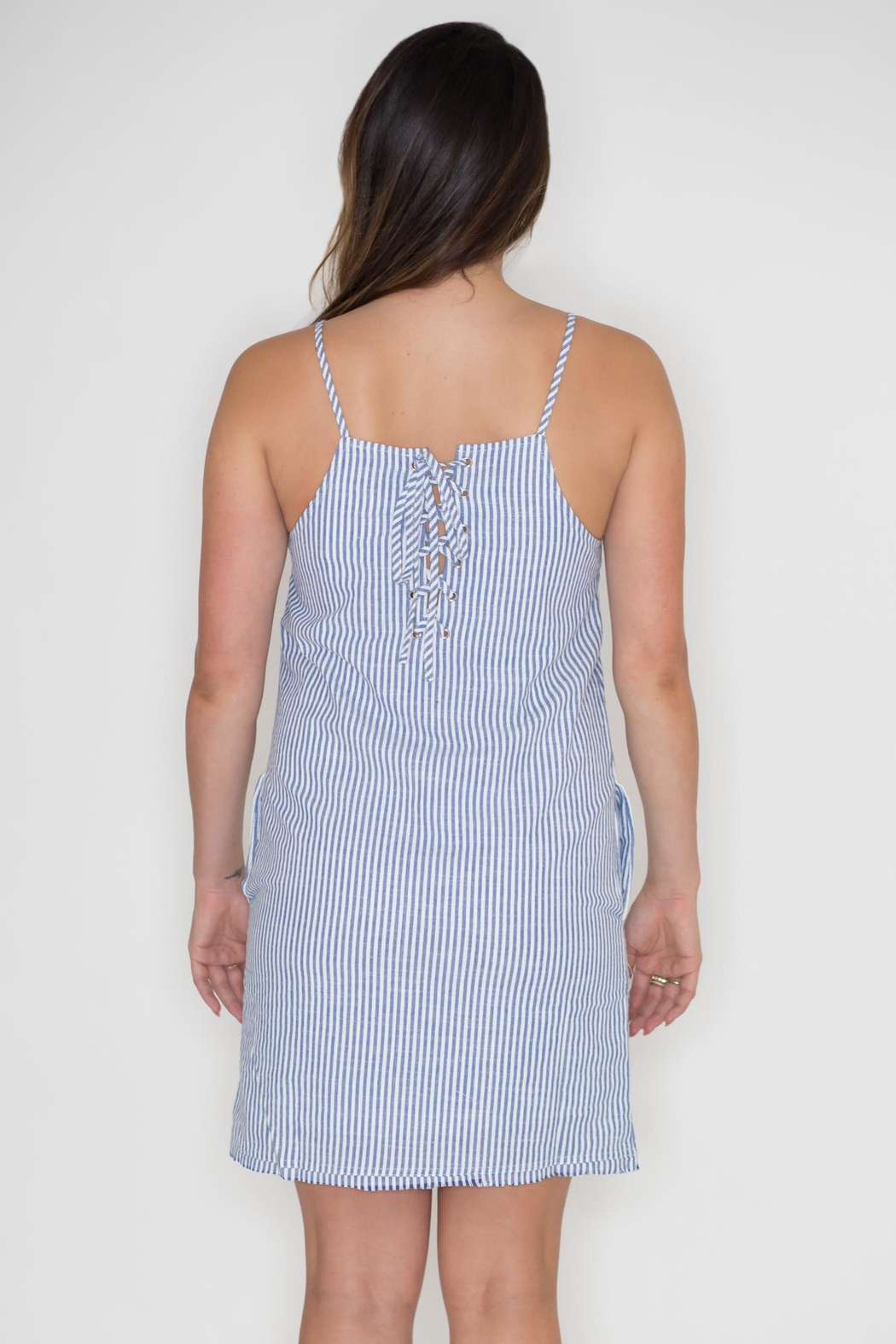 Very J Striped Denim Dress - Side Cropped Image