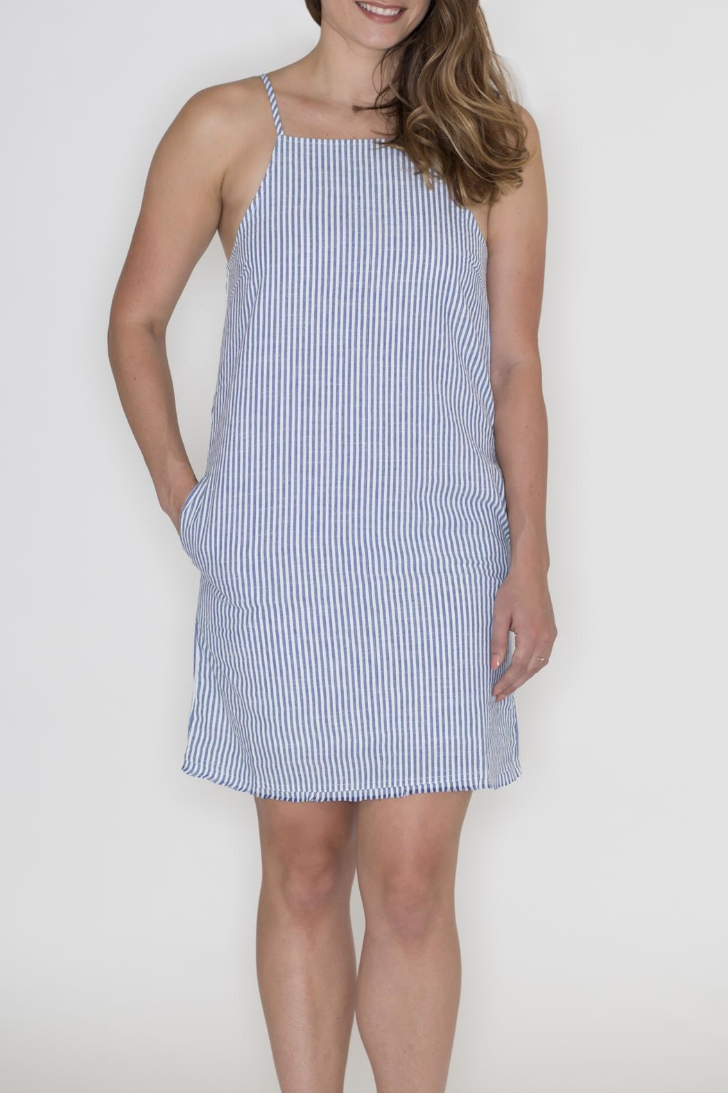 Very J Striped Denim Dress - Main Image