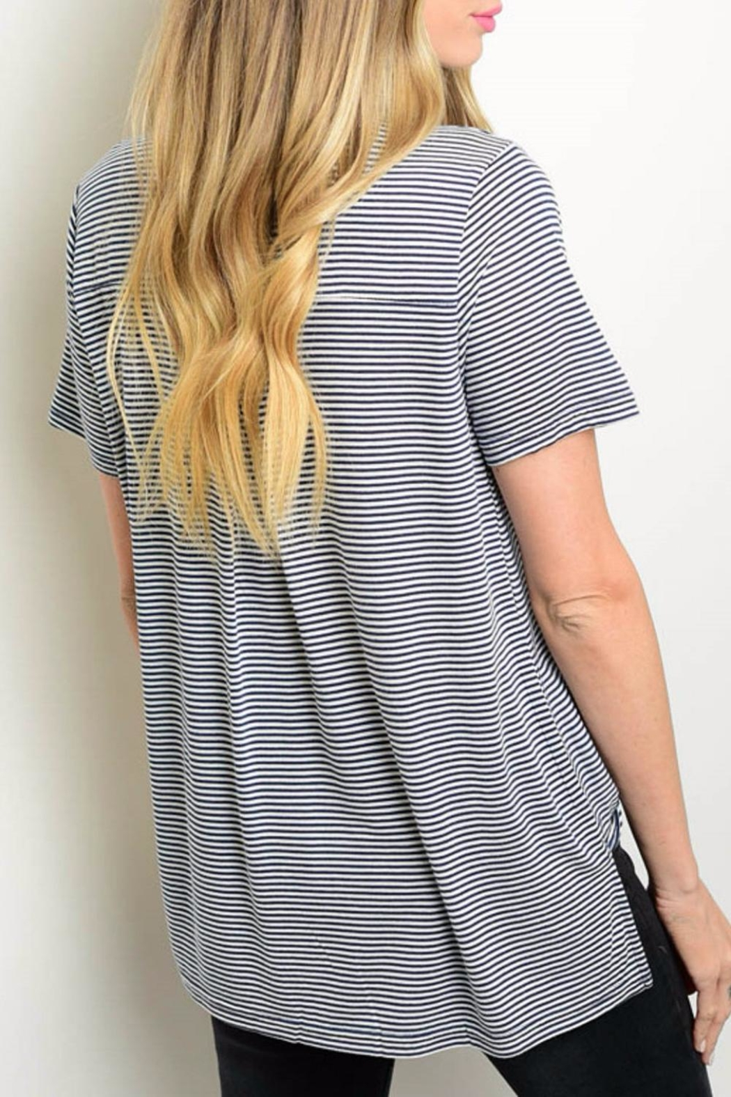 Very J Stripped Collar Top - Front Full Image