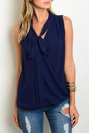 Very J Tie Navy Top - Product Mini Image