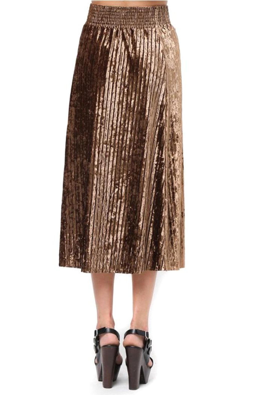 Very J Velvet Pleated Skirt - Front Full Image