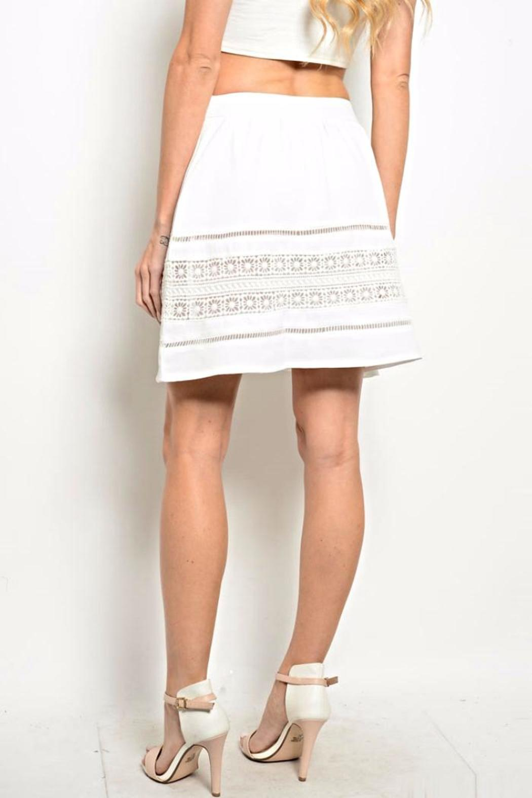 Very J White Crochet Skirt - Front Full Image