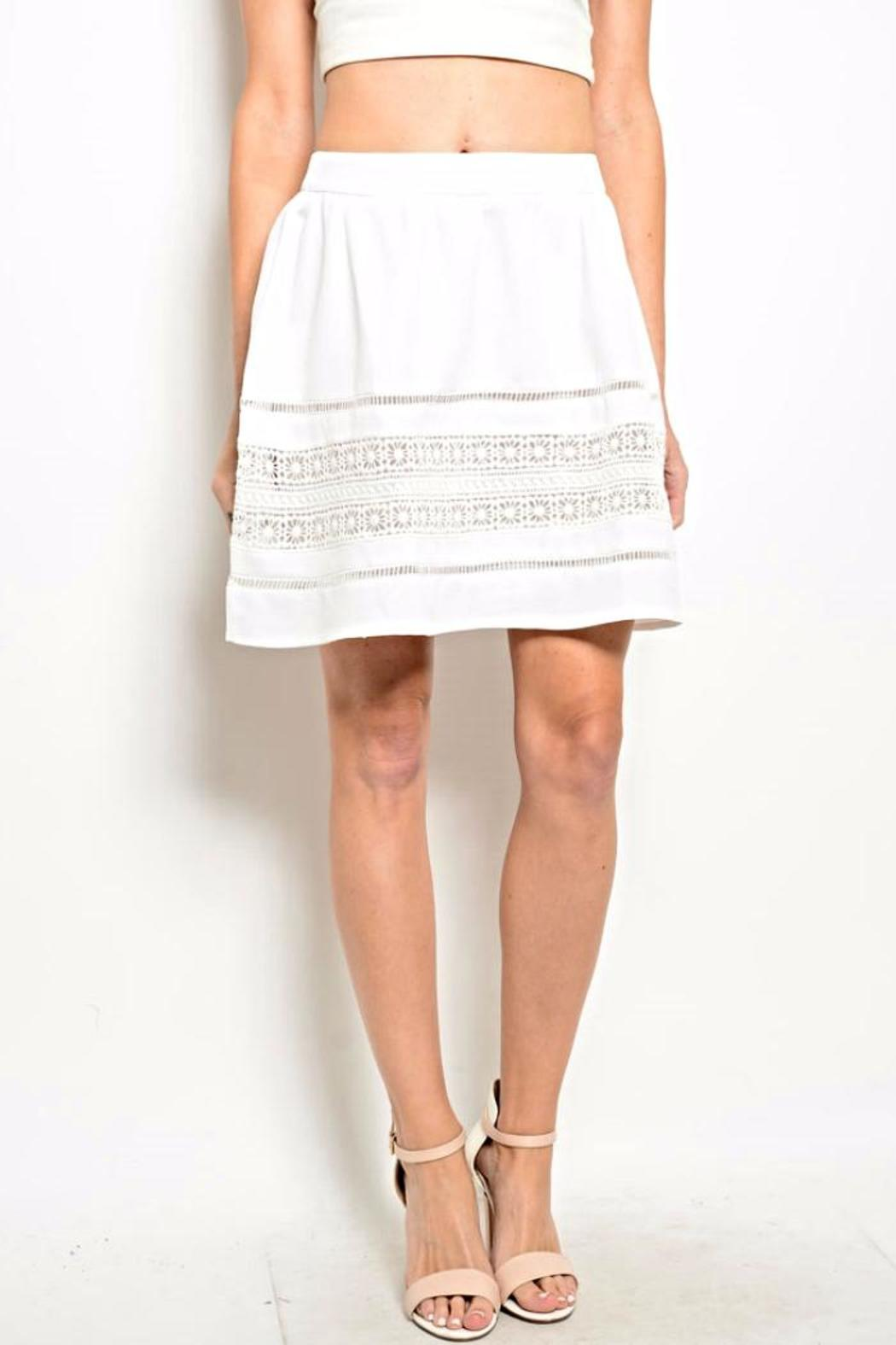 Very J White Crochet Skirt - Main Image