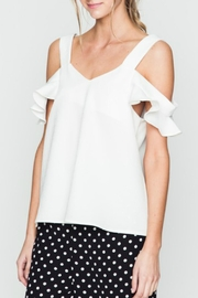 Very J White Flutter Sleeve Top - Product Mini Image