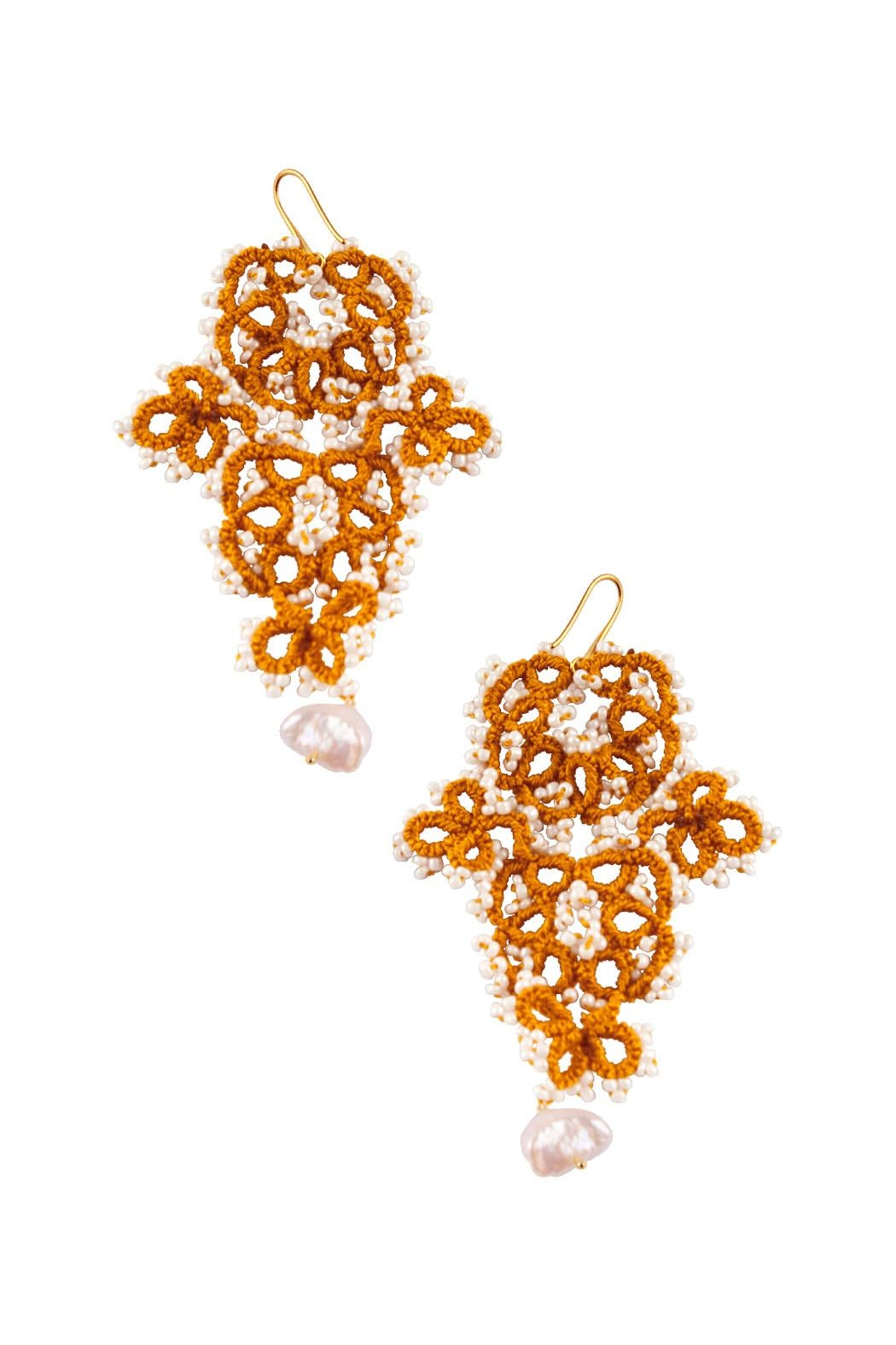 Vessel Gold Tatting Earrings - Front Cropped Image