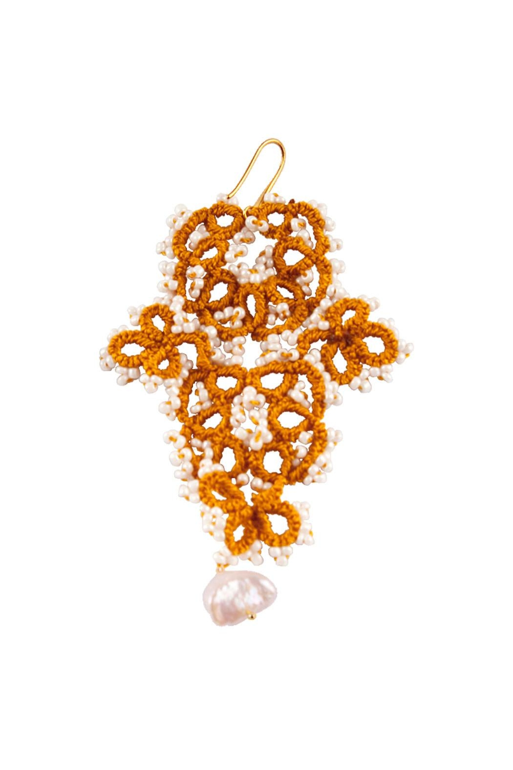Vessel Gold Tatting Earrings - Front Full Image