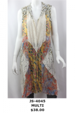 Vintage vest mixed pattern and materials - Product List Image