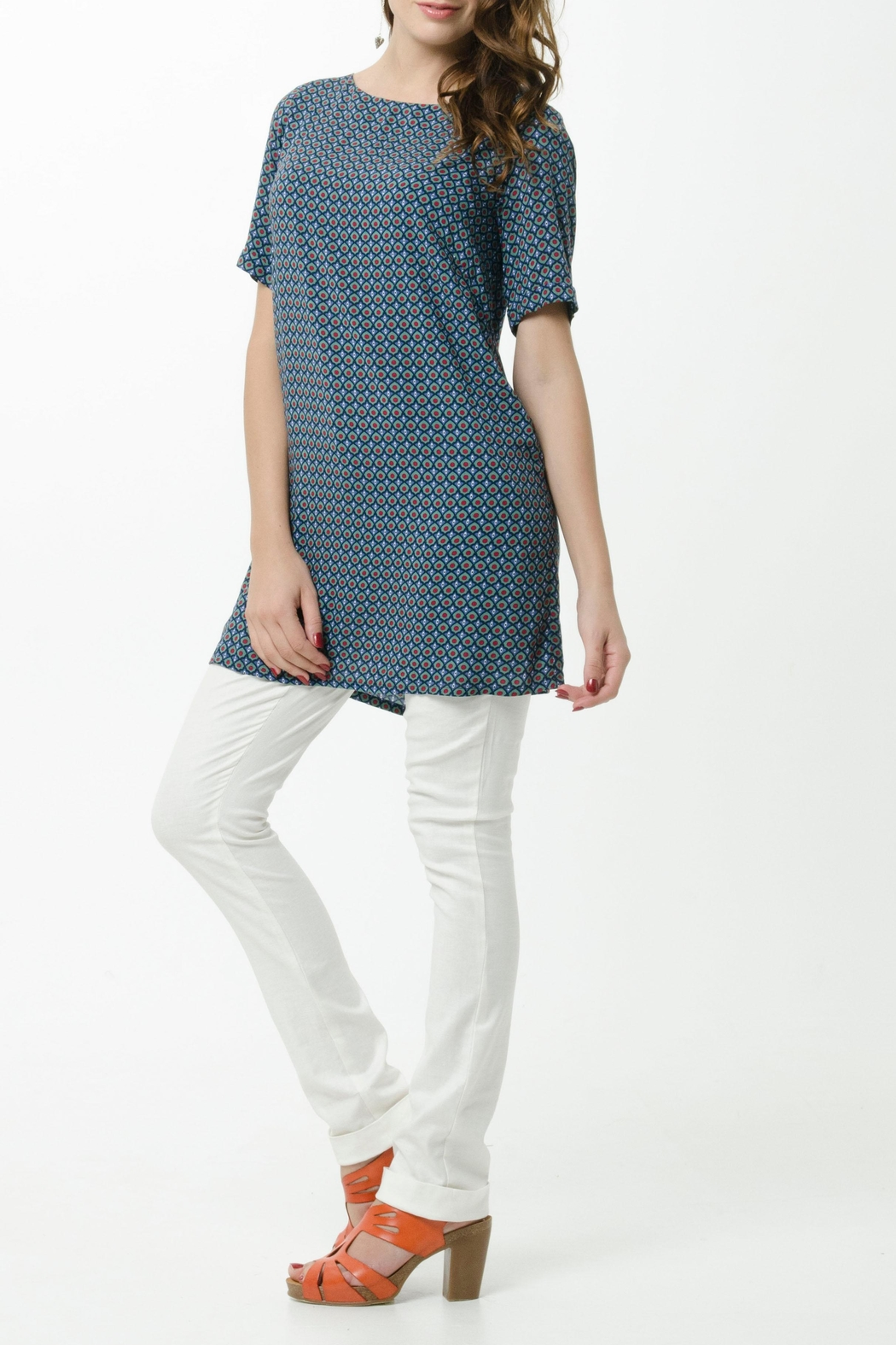 Vesta Blue Egyptian Tunic Top - Front Cropped Image