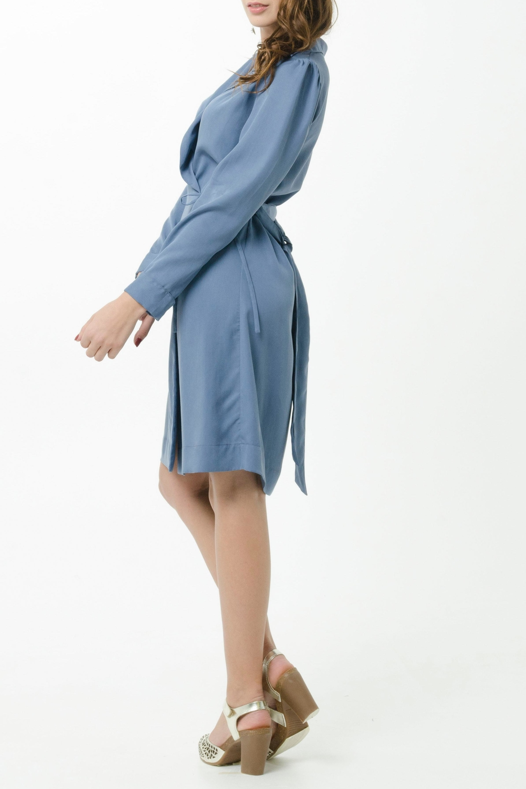 Vesta Wrap Trench Dress - Side Cropped Image