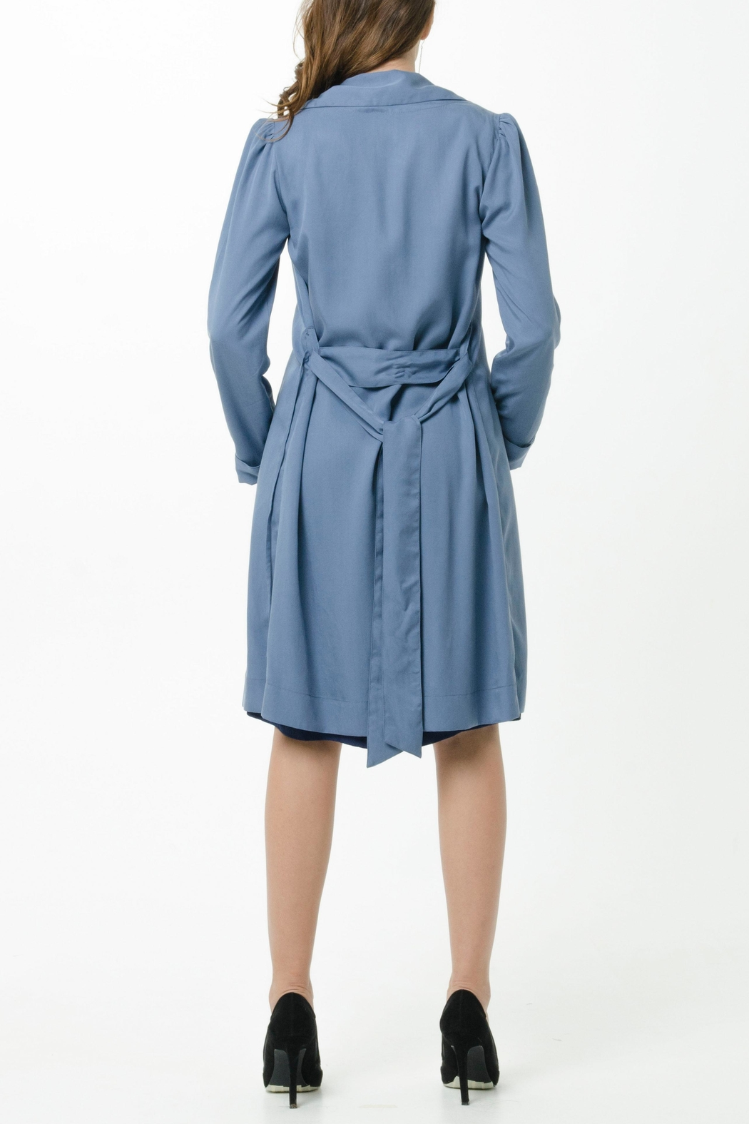 Vesta Wrap Trench Dress - Back Cropped Image