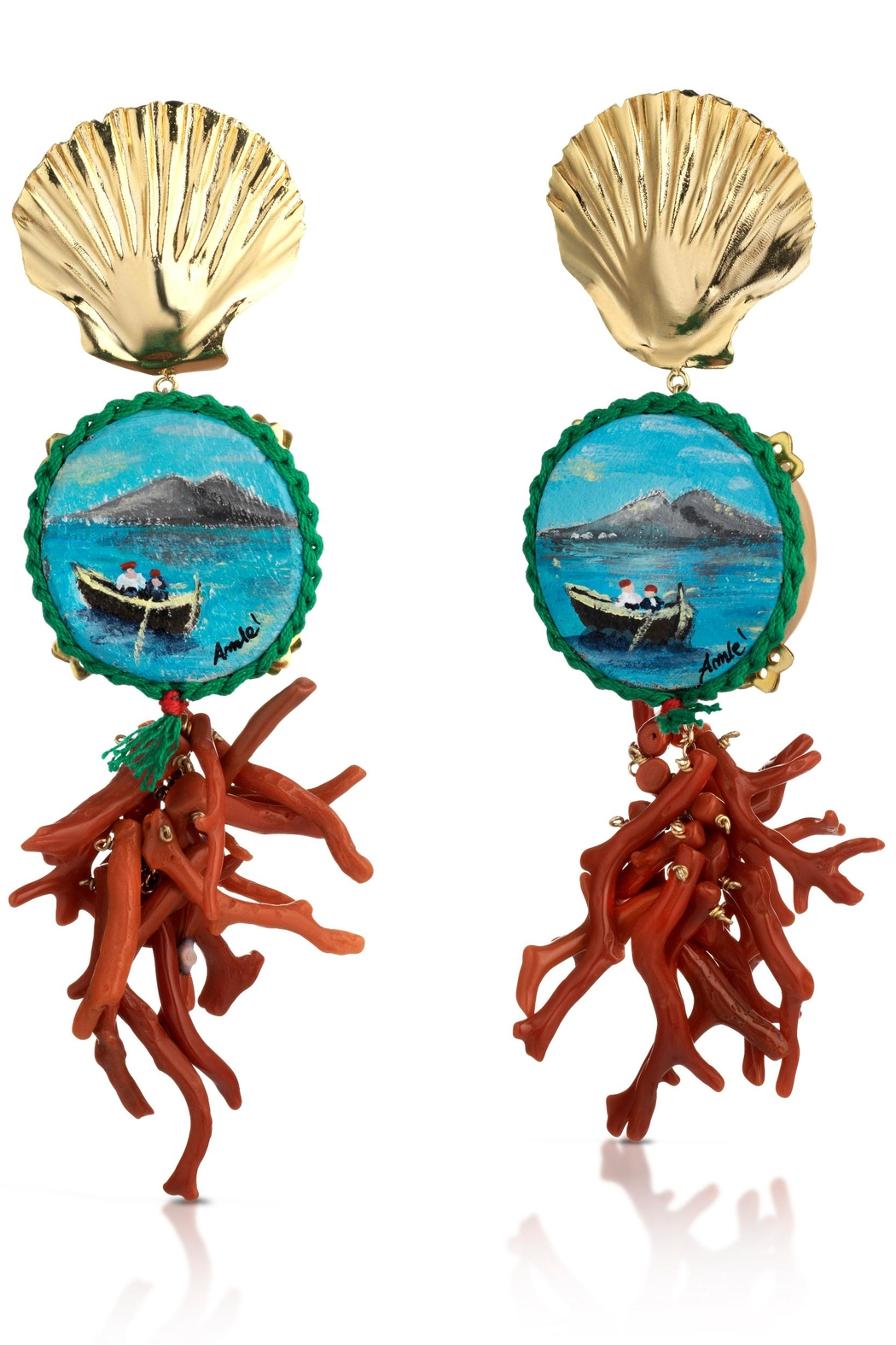 Amlè Vesuvio Shell Earrings - Front Cropped Image