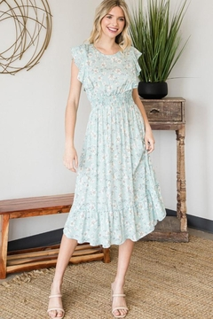 veveret Floral Print Frilled Top Smocked Waist Midi Dress - Product List Image