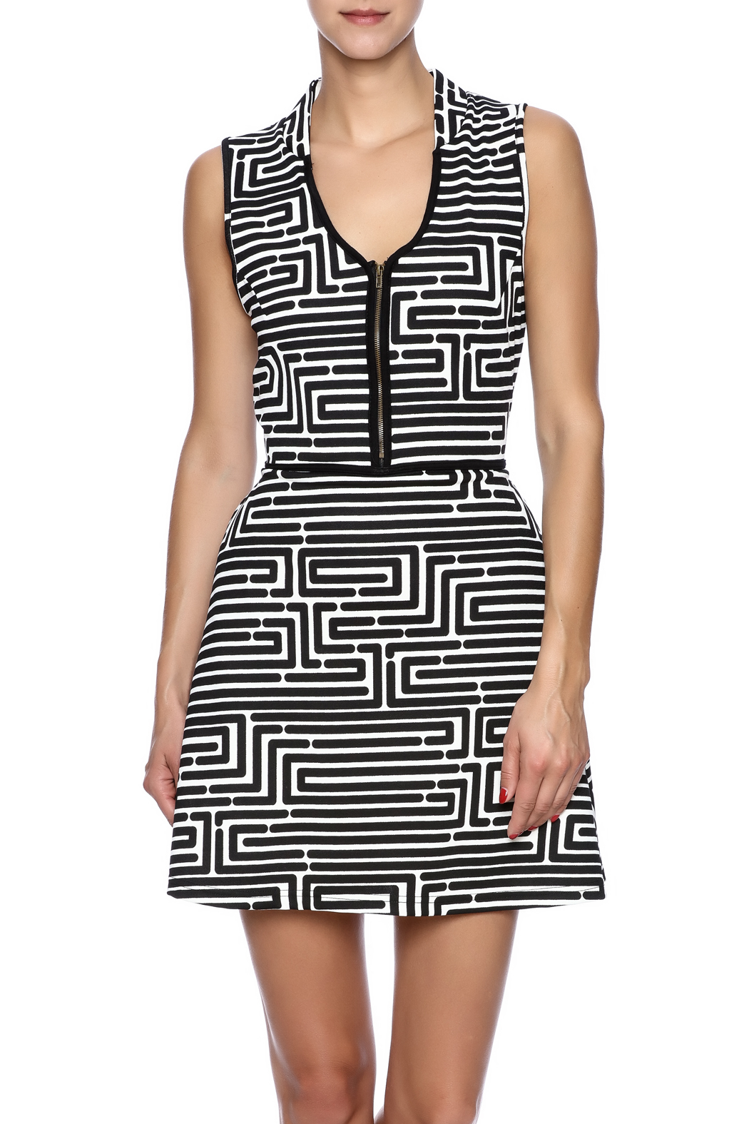 vFish designs Geometric Print Dress - Front Cropped Image