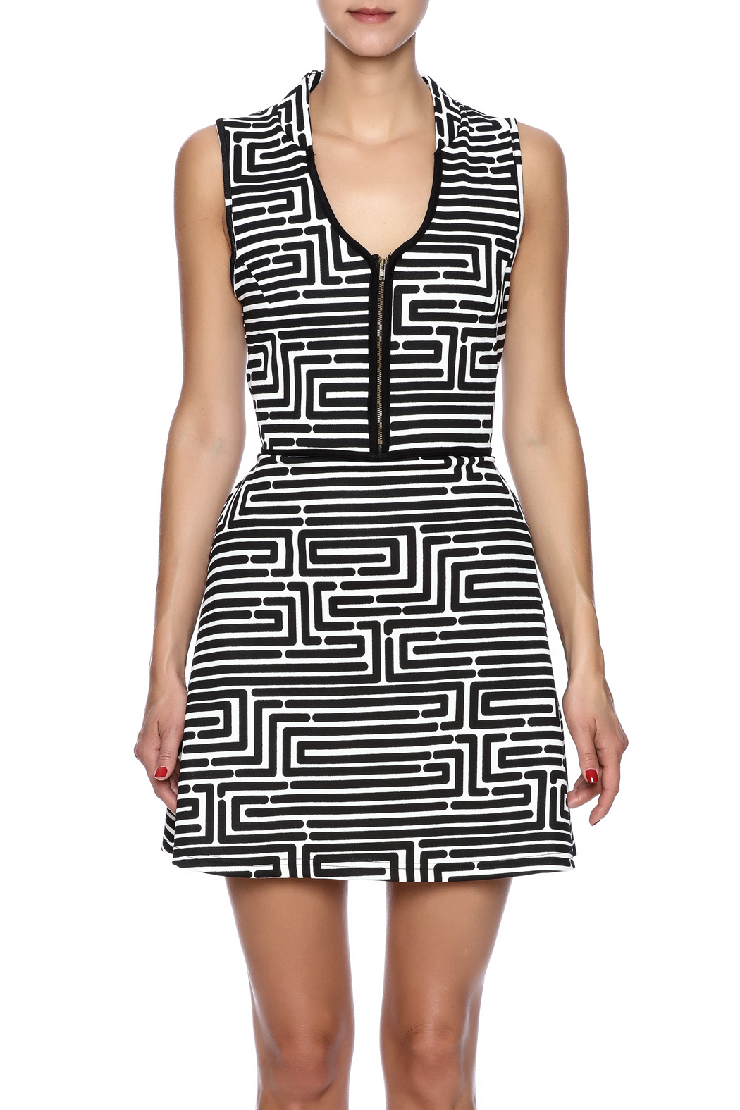 vFish designs Geometric Print Dress - Side Cropped Image