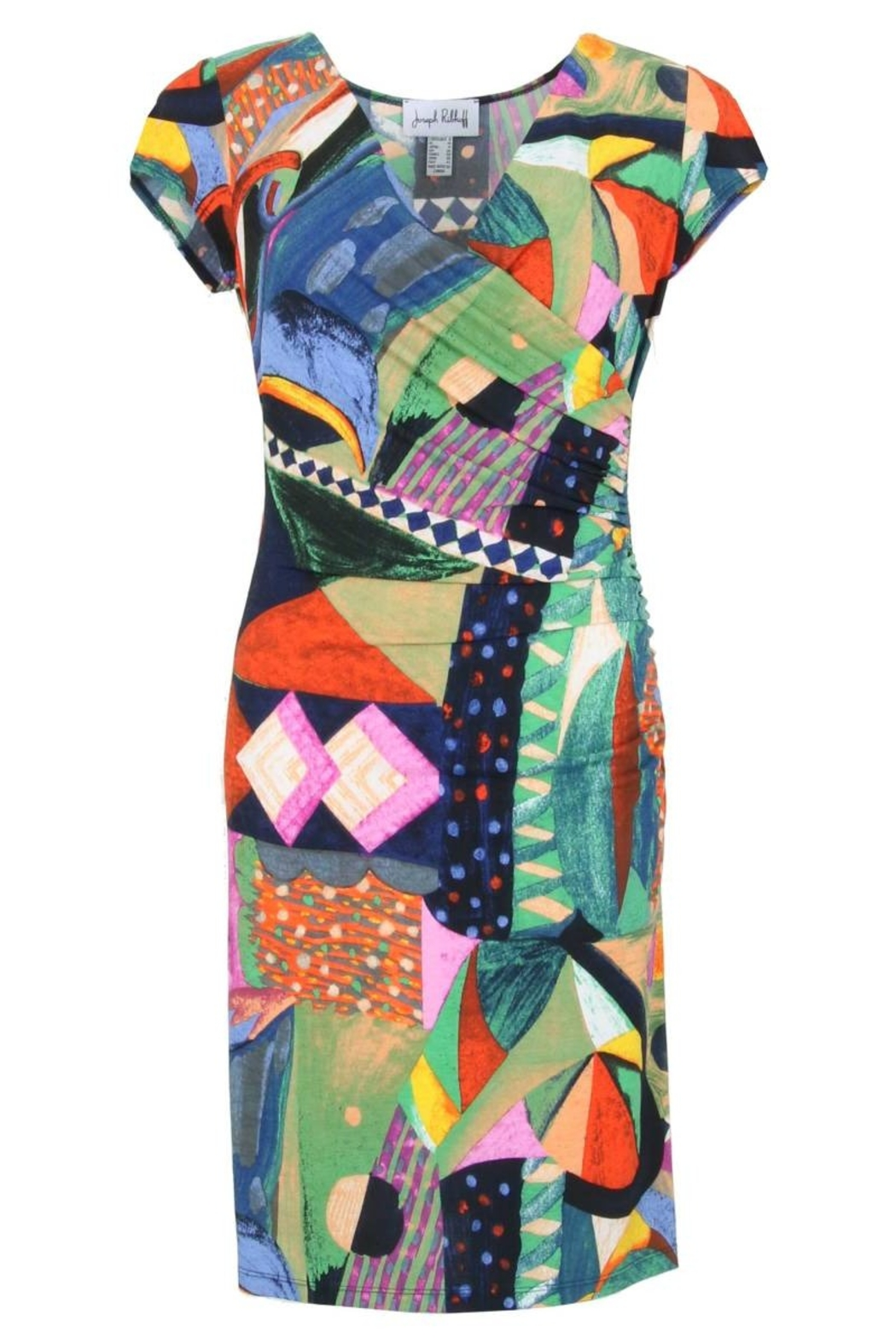 Joseph Ribkoff  Vibrant colored v-neck side ruched dress - Main Image