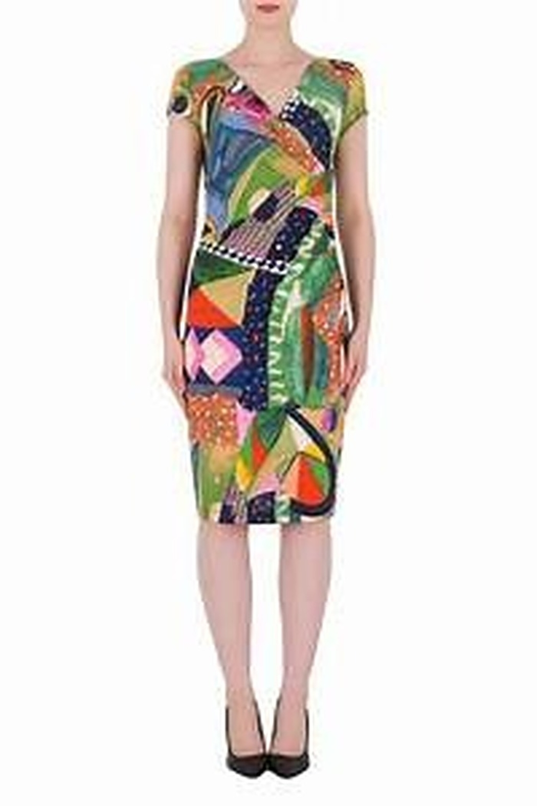 Joseph Ribkoff  Vibrant colored v-neck side ruched dress - Side Cropped Image
