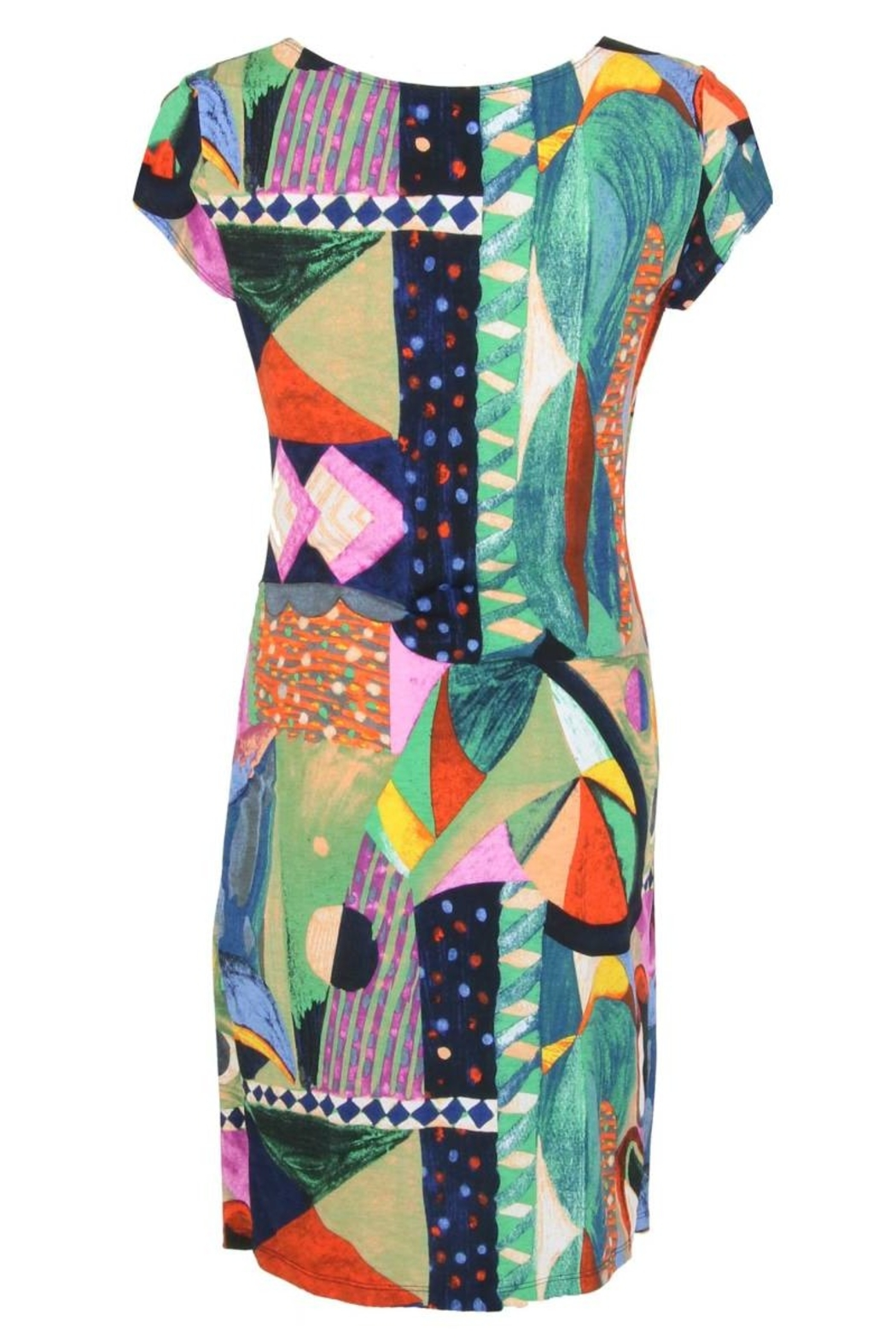 Joseph Ribkoff  Vibrant colored v-neck side ruched dress - Front Full Image