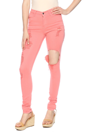 Vibrant Coral Rip Out Jeans - Product Mini Image