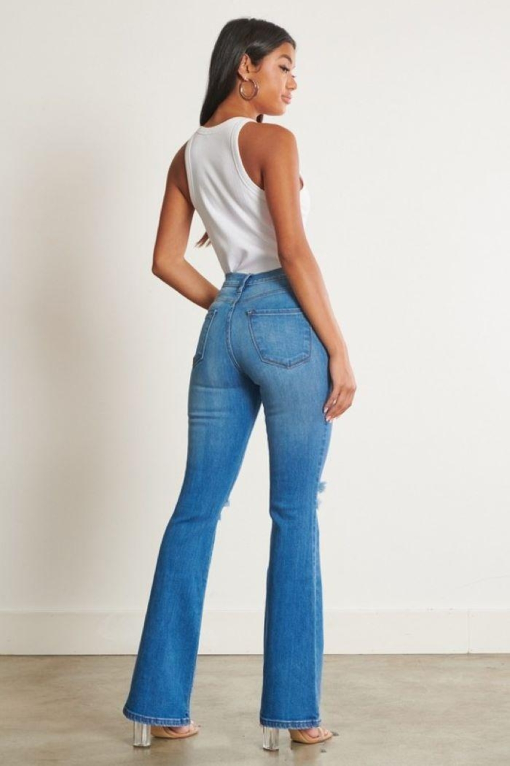 Vibrant Distressed Flare Jeans - Front Full Image