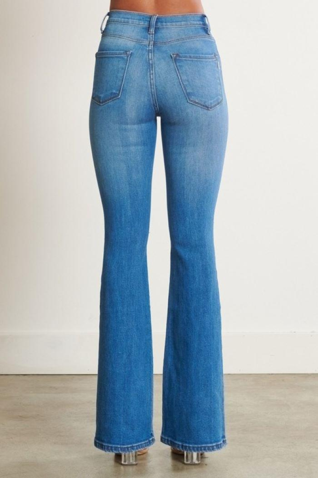 Vibrant Distressed Flare Jeans - Back Cropped Image