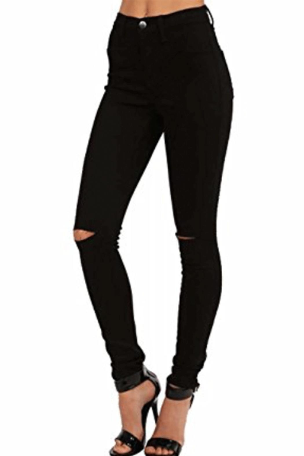 Vibrant High-Waisted Slit-Knee Jean - Main Image
