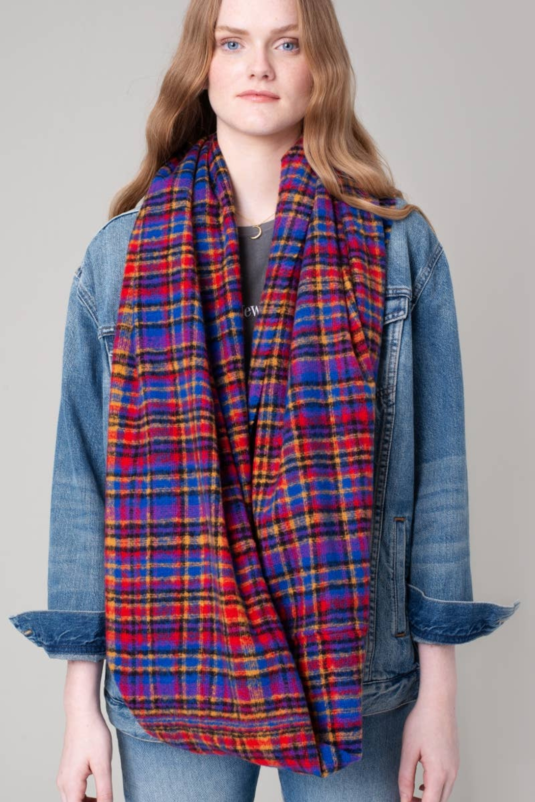 avenue zoe  Vibrant Plaid Scarf - Front Cropped Image