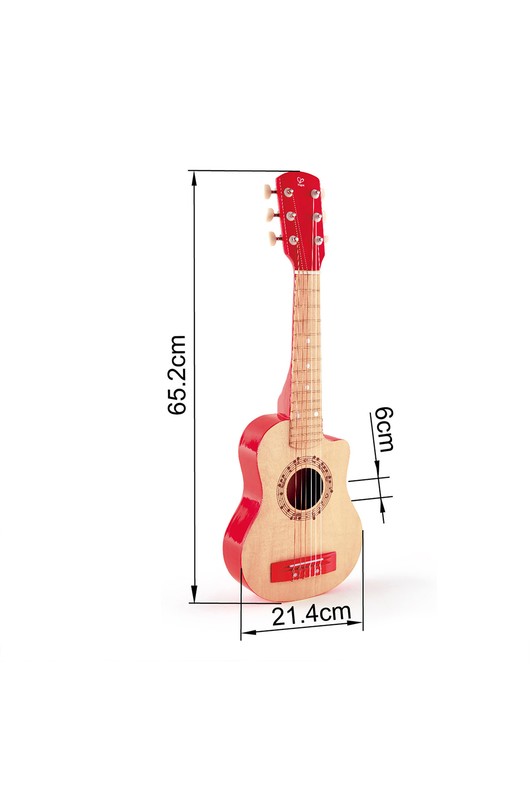 Hape  Vibrant Red Guitar - Back Cropped Image