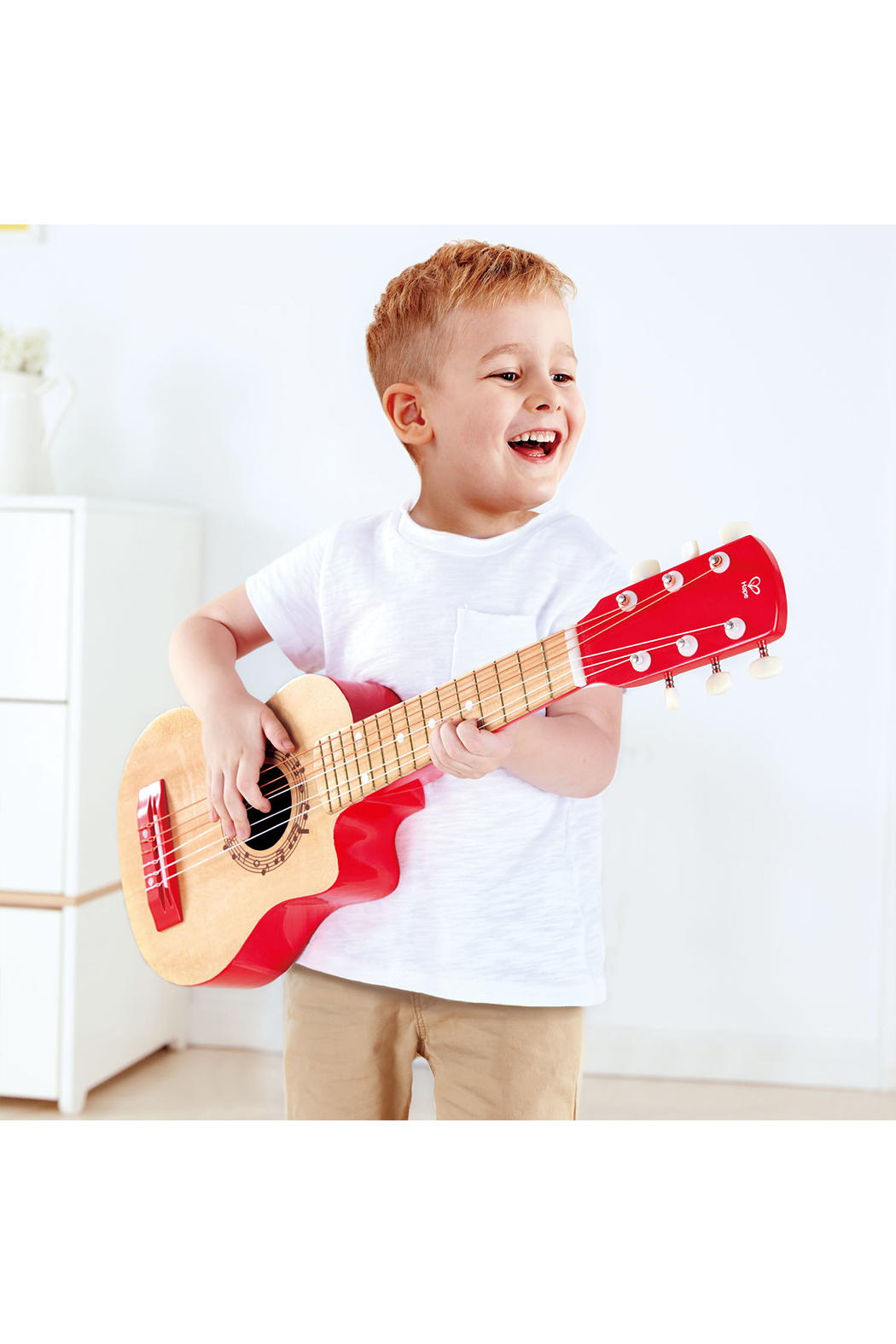 Hape  Vibrant Red Guitar - Side Cropped Image