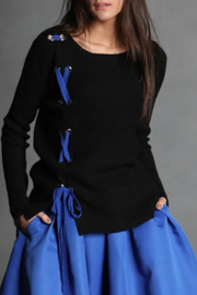 Maude Vicky Contrast Lace Up Sweater - Product Mini Image