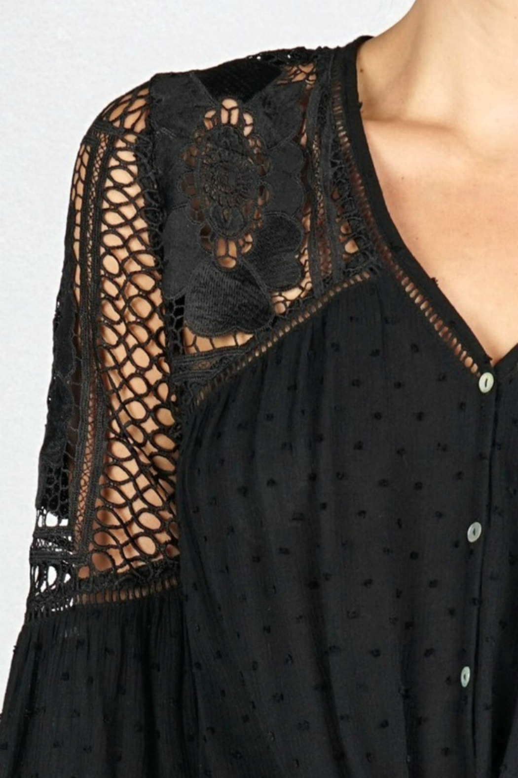 Lovestitch VICTORIA BLOUSE BLACK - Side Cropped Image