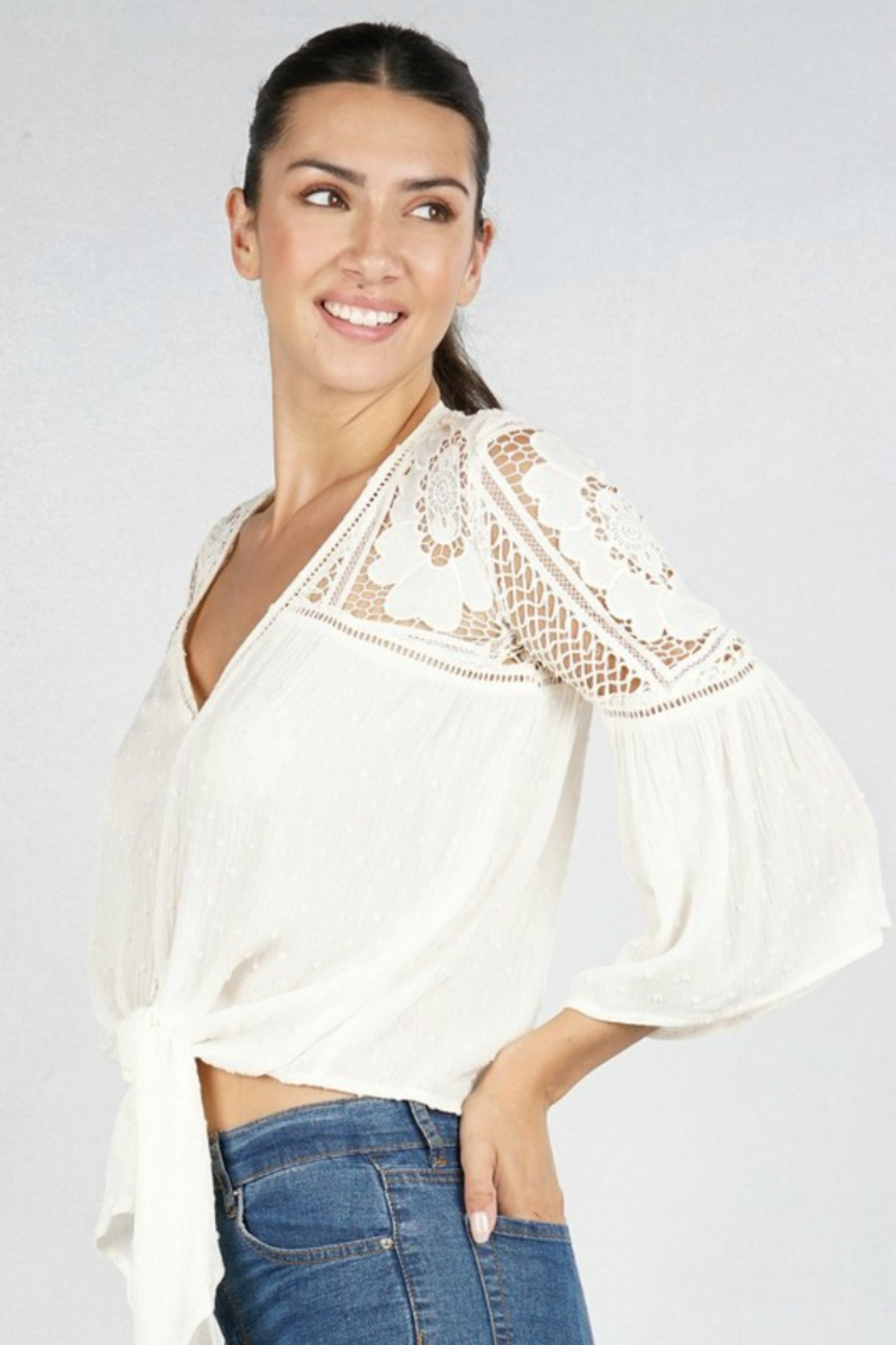 Lovestitch VICTORIA BLOUSE NATURAL - Back Cropped Image