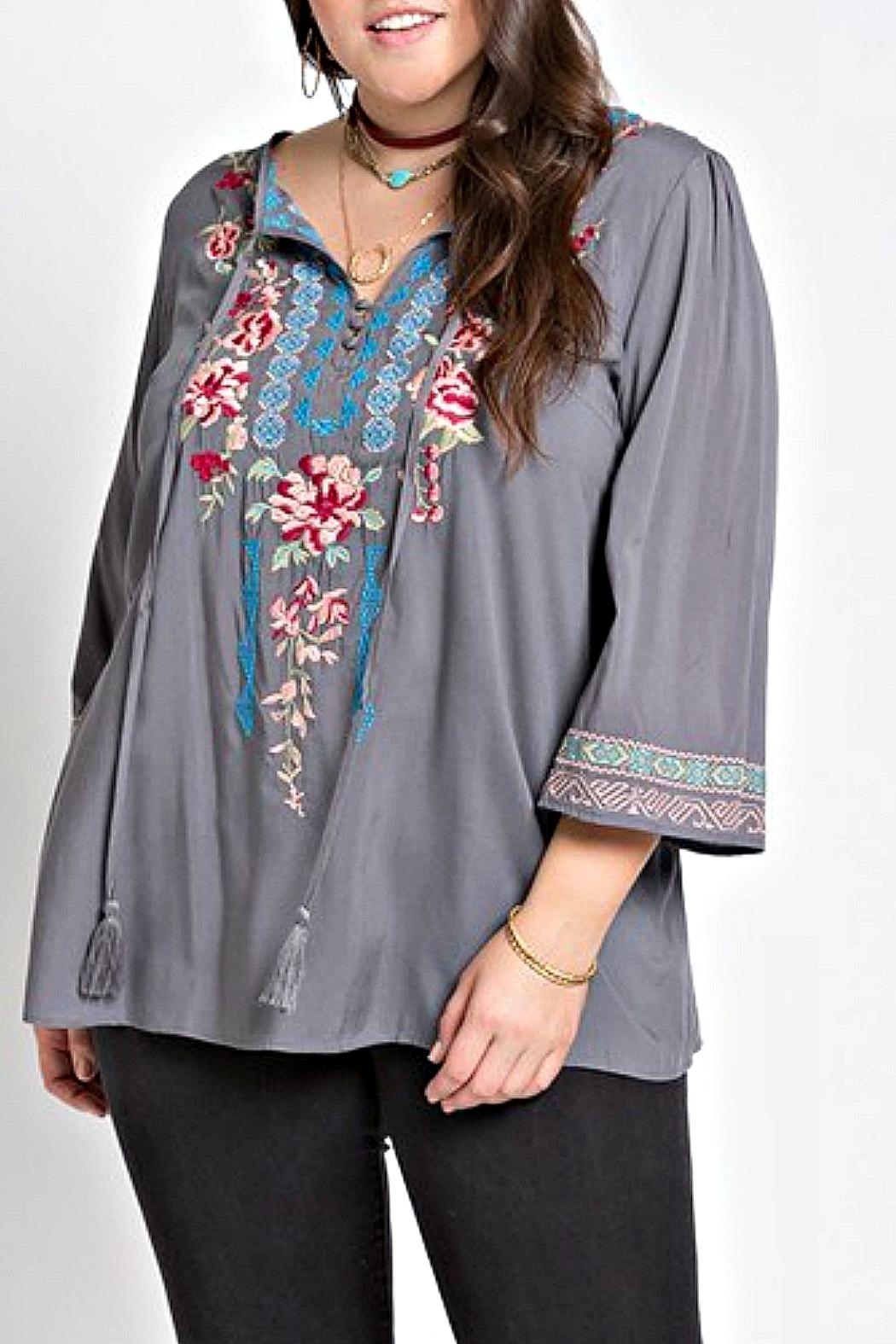 Izzie's Boutique Victoria Embroidered Blouse - Front Full Image