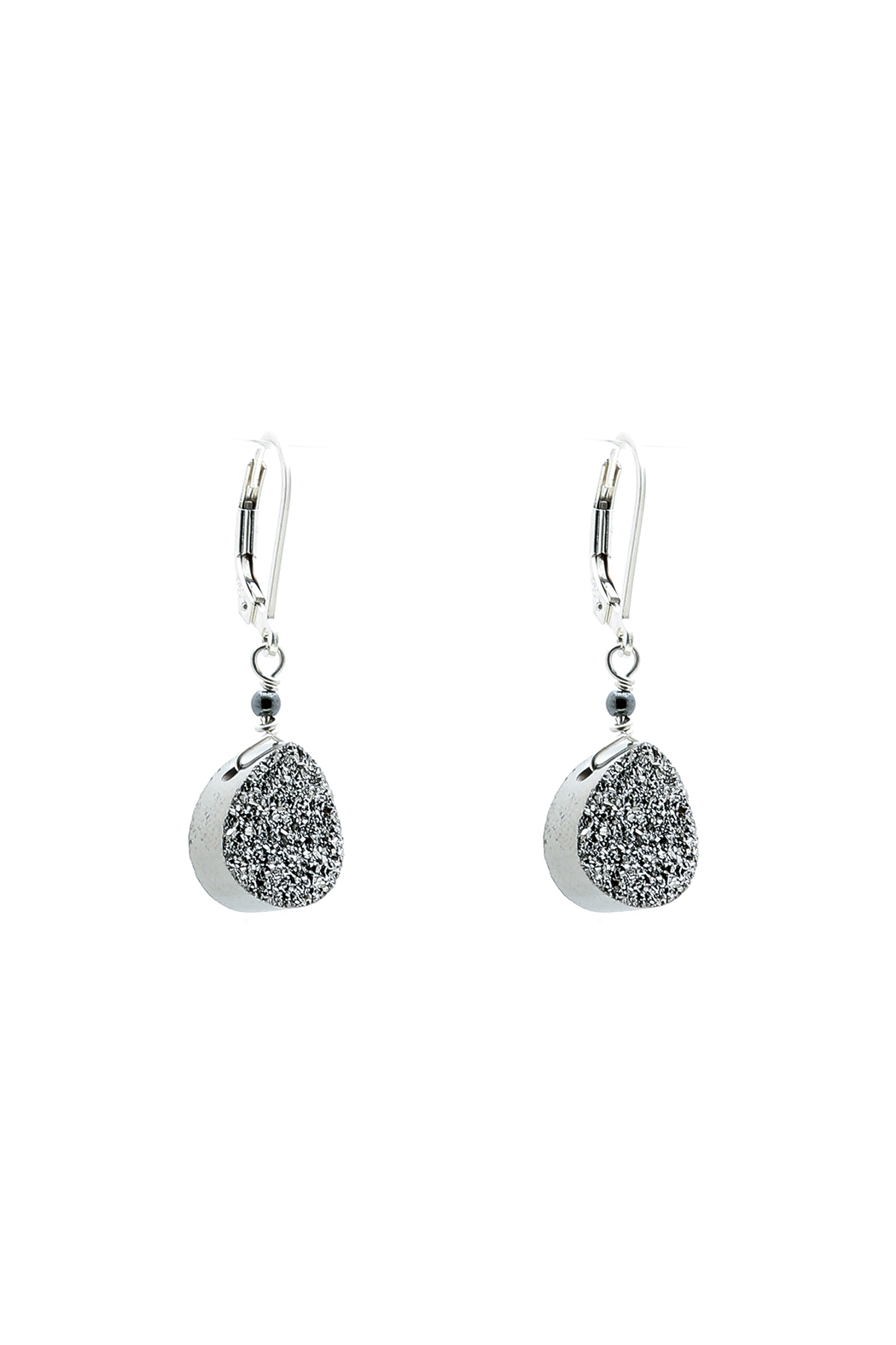 Victoria Greenhood Jewelry Design Pear Silver Druzy Earrings Front Cropped Image