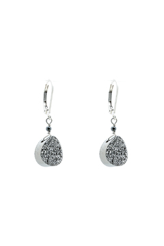 Shoptiques Product: Pear Silver Druzy Earrings