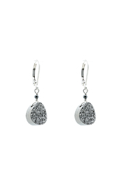 Victoria Greenhood Jewelry Design Pear Silver Druzy Earrings - Product Mini Image