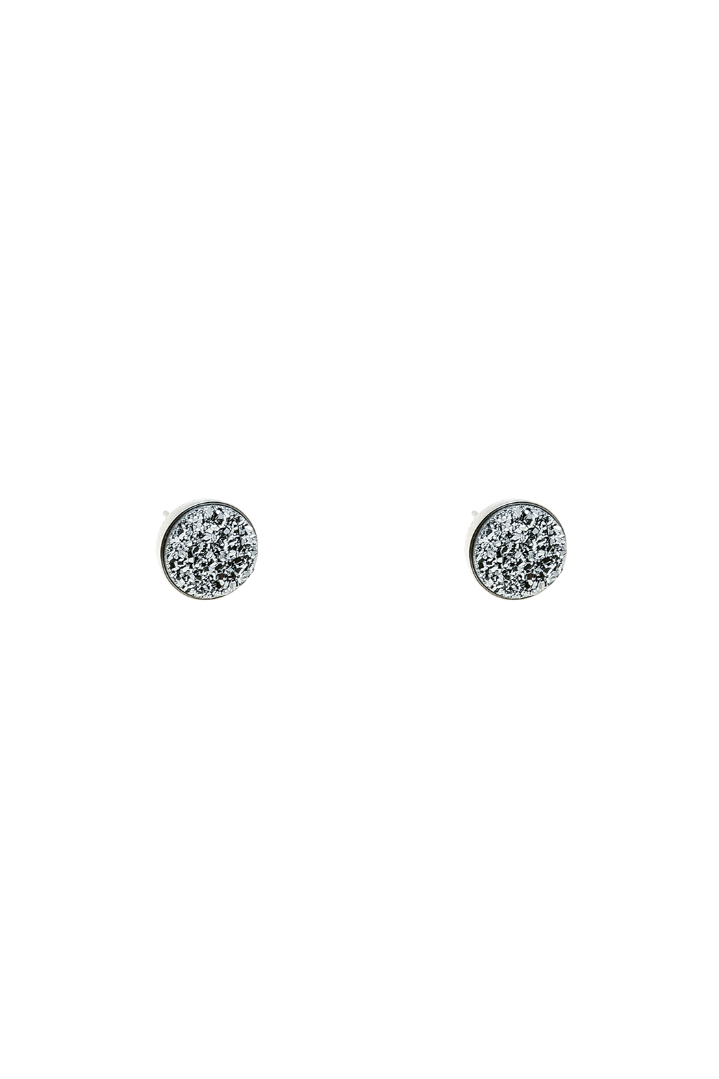 Victoria Greenhood Jewelry Design Silver Druzy Studs - Front Cropped Image